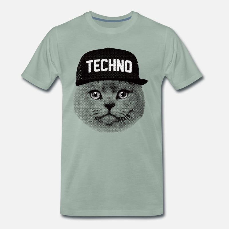 Techno T-Shirts - Techno cat - Men's Premium T-Shirt steel green