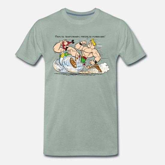 Cool T-Shirts - Asterix & Obelix - Pain is temporary - Men's Premium T-Shirt steel green