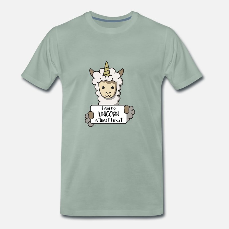 Gift Idea T-Shirts - Llama unicorn sign llama gift animal idea - Men's Premium T-Shirt steel green