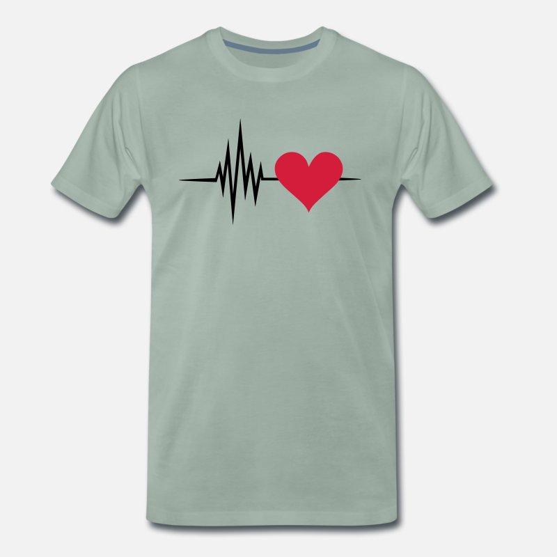 Equalizer T-Shirts - Pulse, frequency, heartbeat, I Love you heart rate - Men's Premium T-Shirt steel green