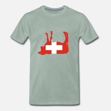 Country Flag Switzerland country flag cow - Men's Premium T-Shirt