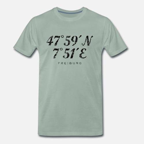 2138d3fd9eec69 Freiburg im Breisgau Koordinaten Vintage Schwarz - Männer Premium T-Shirt.  Hinten. Hinten. Design. Vorne