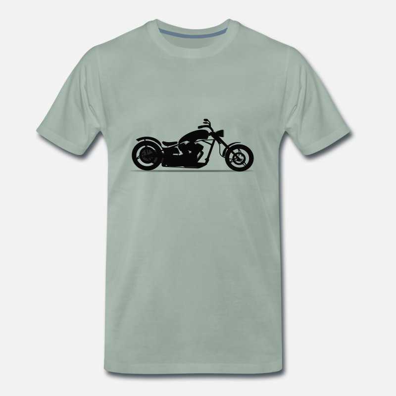 Gift Idea T-Shirts - Motorcycle chopper silhouette - Men's Premium T-Shirt steel green