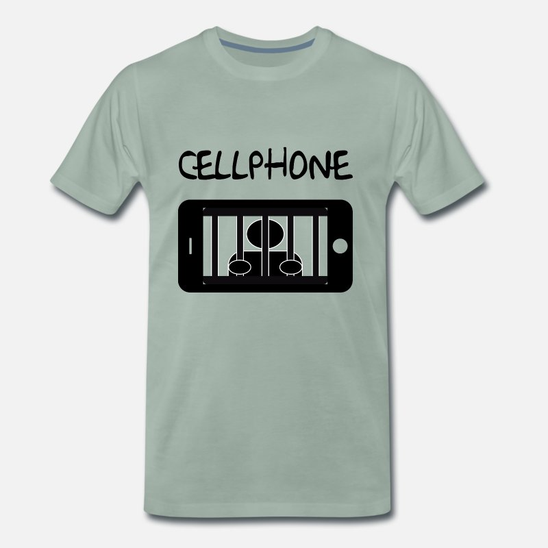 Phone T-Shirts - Mobile cell jail and detainee - Men's Premium T-Shirt steel green