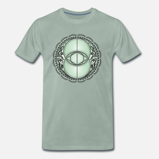 Ande T-shirts - Vesica Piscis, Chalice Well, Avalon, magic, celtic - Premium T-shirt herr grågrön