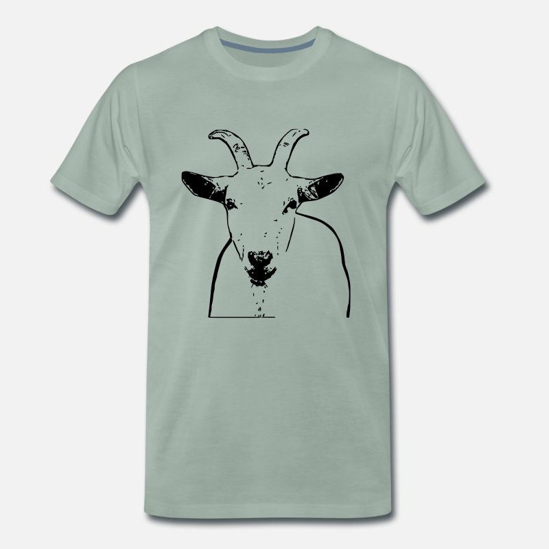 Stylish T-Shirts - Goat outline - Men's Premium T-Shirt steel green