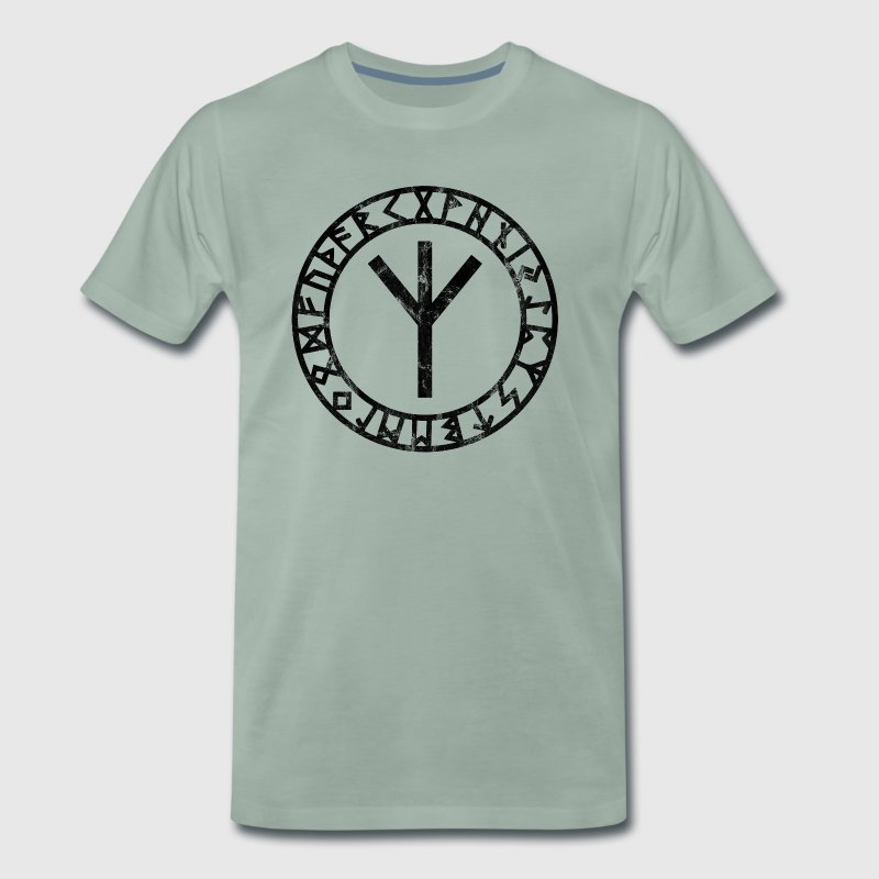 Algiz Runes Circle Vikings Odin Thor Asgard Celtic - Men's Premium T-Shirt