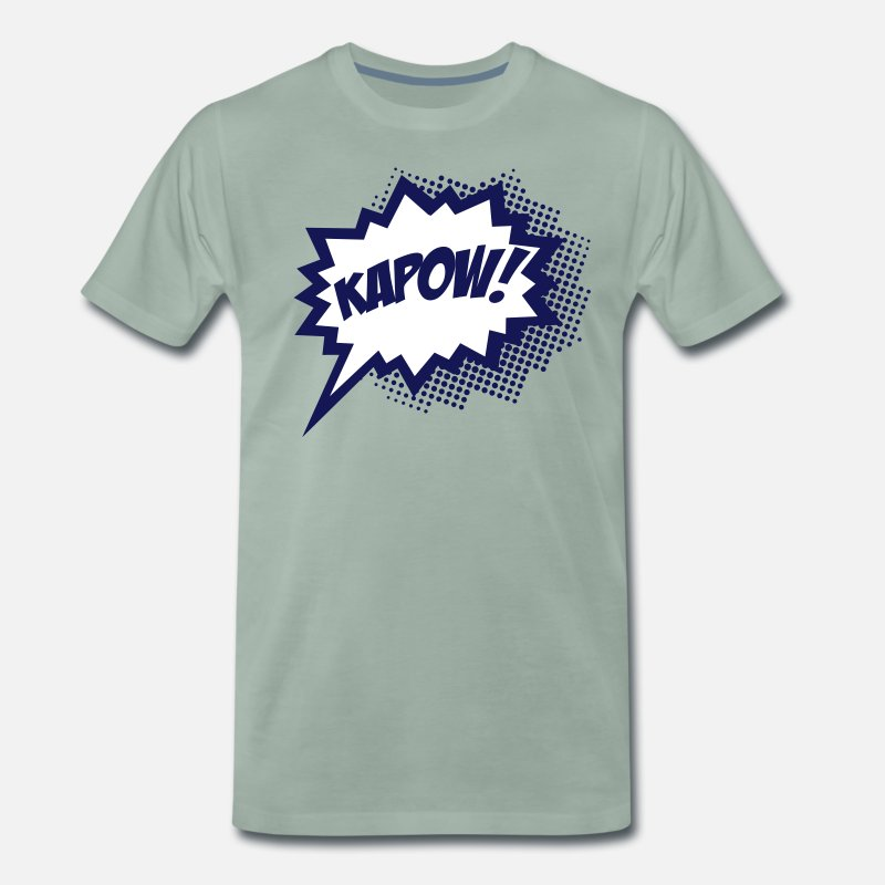 Kapow T-Shirts - KAPOW!, Comic Style Speech Bubble Bang, Boom, Pow - Men's Premium T-Shirt steel green
