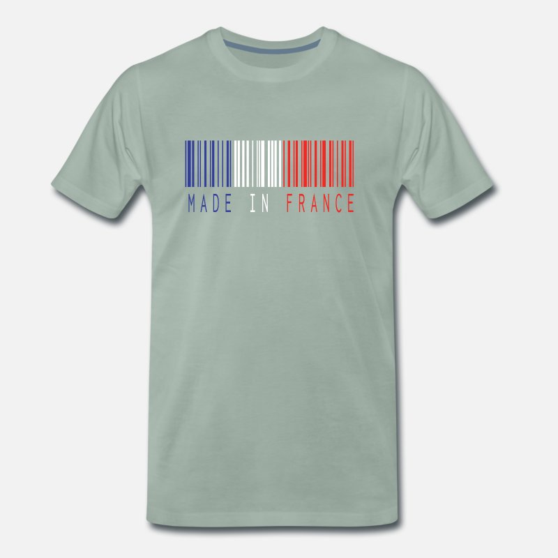 France T-shirts - MADE IN FRANCE BARCODE - T-shirt premium Homme vert-de-gris