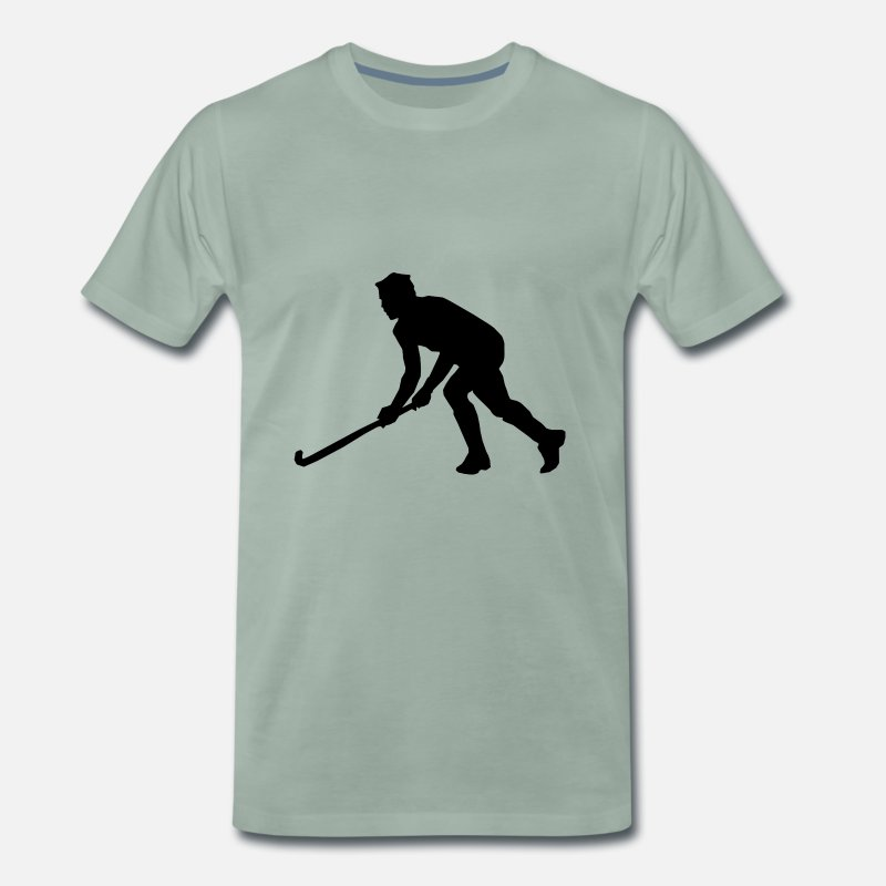 Hockey T-shirts - Hockey sur gazon Hockey Silhouette - T-shirt premium Homme vert-de-gris