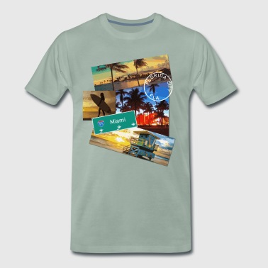 Miami Florida poster travel beach surf t shirt - Men's Premium T-Shirt