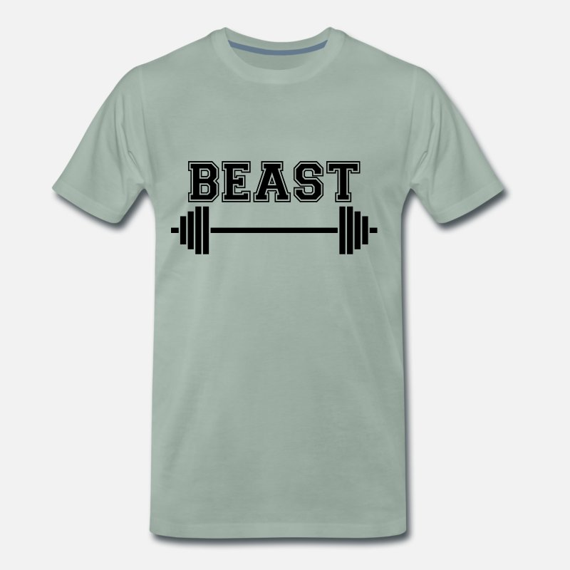 Weightlifting T-Shirts - Beast. Dad Beast. Weightlifting Gifts. Keep Strong - Men's Premium T-Shirt steel green