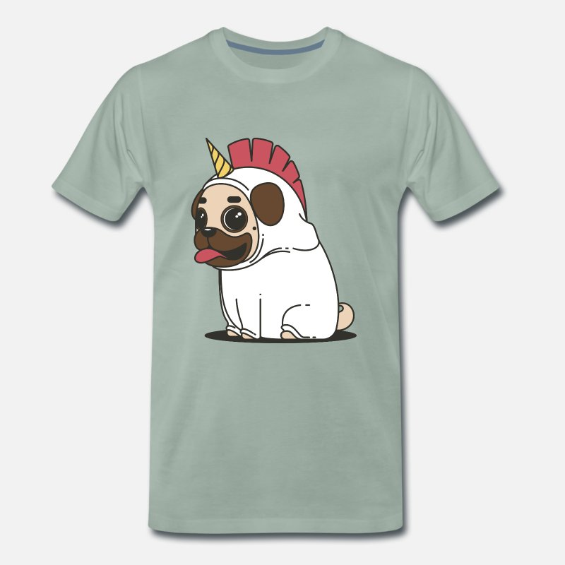 Gift Idea T-Shirts - Puppy Unicorn Unicorn Pug Gift Idea Dog - Men's Premium T-Shirt steel green