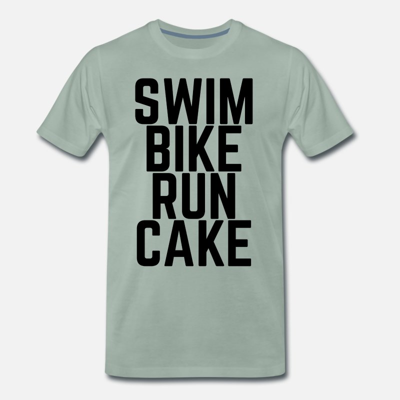Triathlon T-Shirts - Swim Bike Run Cake! - Men's Premium T-Shirt steel green