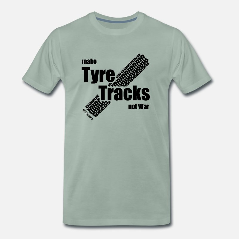 Track T-Shirts - Tire Tracks - Men's Premium T-Shirt steel green