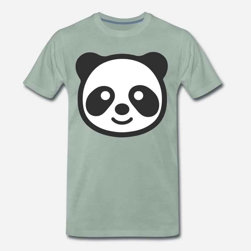 Cute T-Shirts - Panda head - Men's Premium T-Shirt steel green