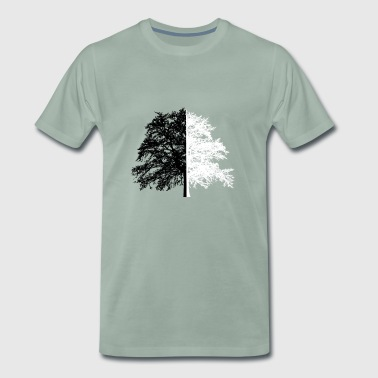 Tree Tree Black White Illusion - Herre premium T-shirt
