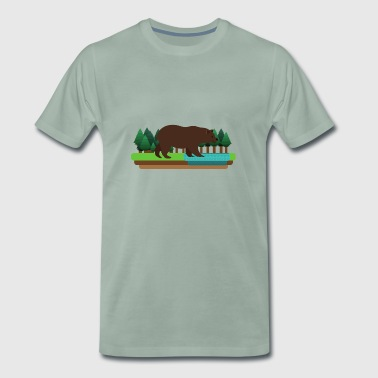 Bear nature river gift landscape wilderness creek - Men's Premium T-Shirt