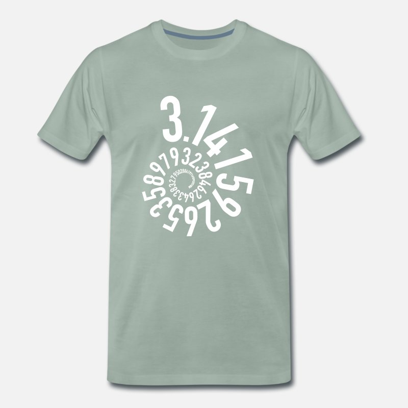 Birthday T-Shirts - Pi 3.14 Circular number as a spiral - Men's Premium T-Shirt steel green