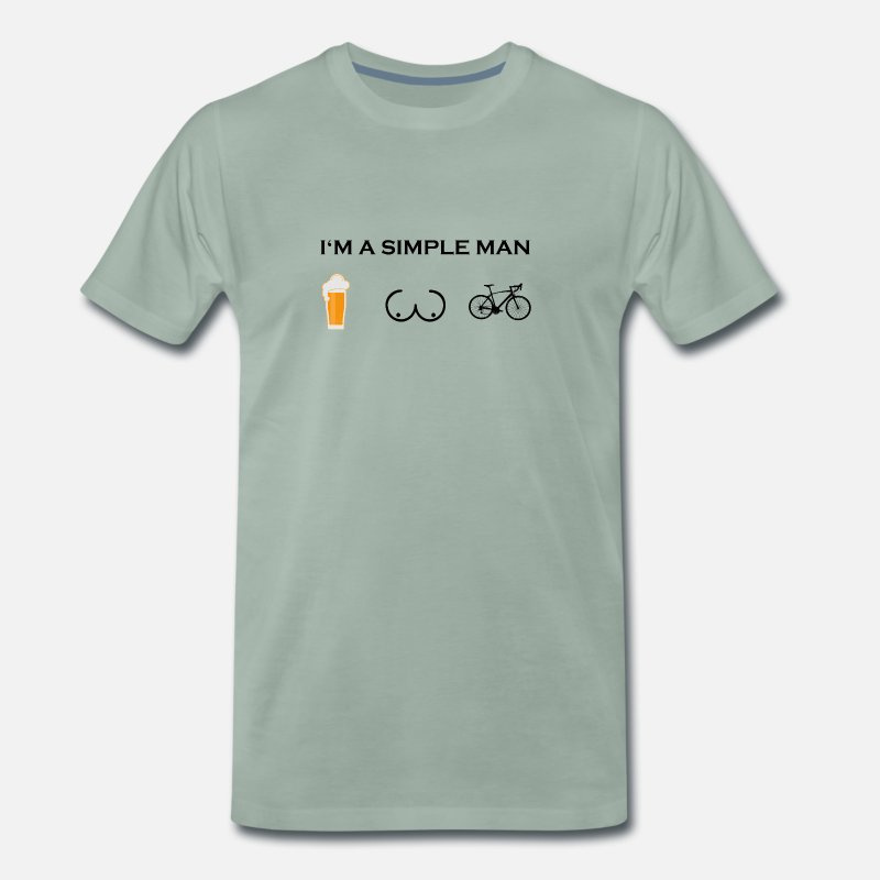 Friends T-Shirts - simple man boobs beer beer tits road bike cycling - Men's Premium T-Shirt steel green