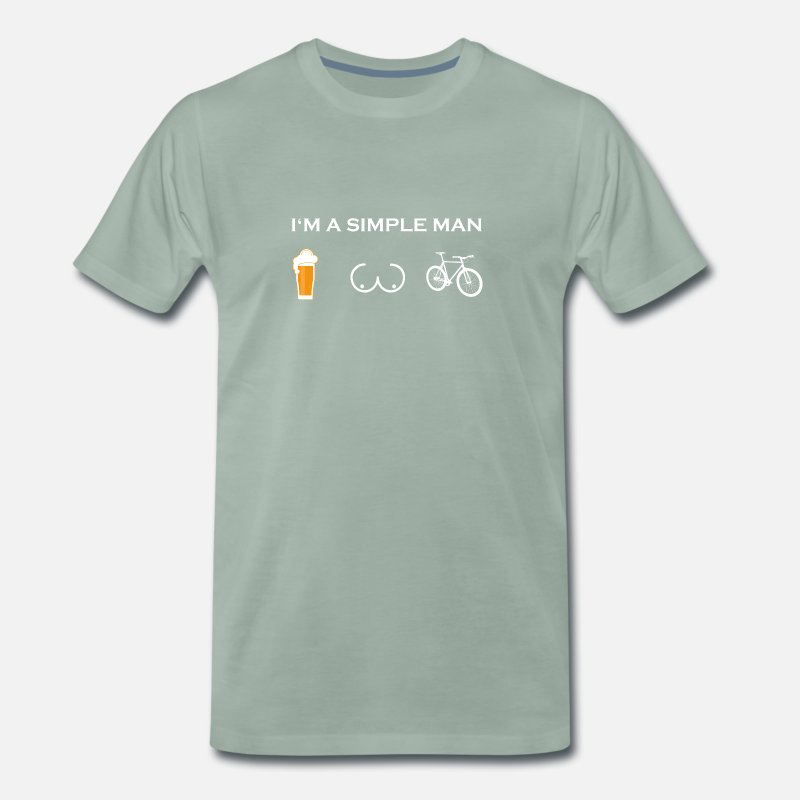 Friends T-Shirts - simple man like boobs beer beer tits cycle bicycles - Men's Premium T-Shirt steel green