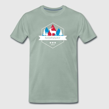 Norway Badge with Reindeer - Men's Premium T-Shirt