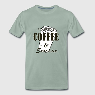 Powered by Coffee and Sarcasm brown - Mannen Premium T-shirt