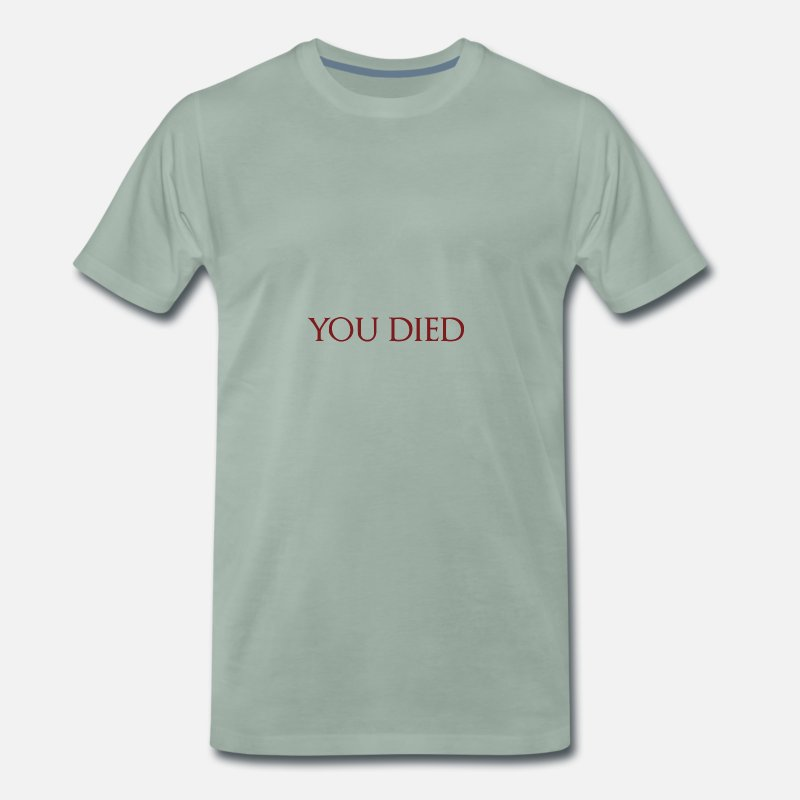 Dark T-shirts - You Died - Dark Souls - T-shirt premium Homme vert-de-gris
