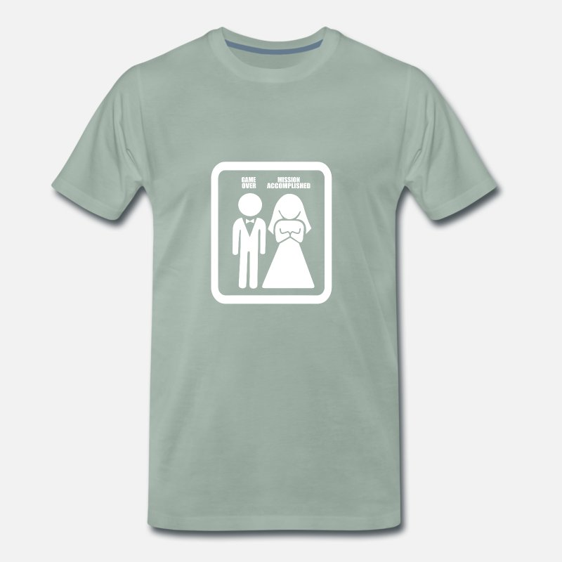 Mariage T-shirts - Funny Game Over Mission Accomplie Mariage - T-shirt premium Homme vert-de-gris