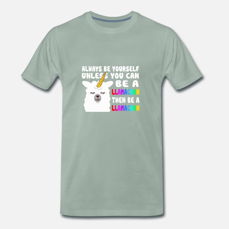 Quotes T-Shirts - Cute LlamaCorn Unicorn Quotes - Men's Premium T-Shirt steel green