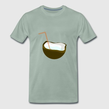 Coconut with straw - Men's Premium T-Shirt
