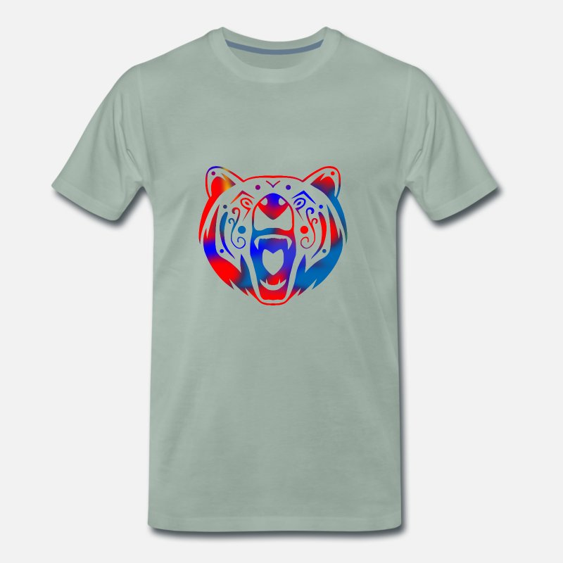 Grizzly T-shirts - tatouage tribal d'ours (couleur) - T-shirt premium Homme vert-de-gris