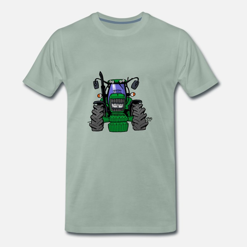 Animal T-Shirts - 0164 Green tractor 6430 - Men's Premium T-Shirt steel green