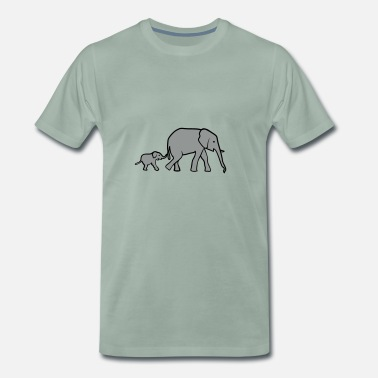 Elephant Mother Elephant mother and baby - Men's Premium T-Shirt