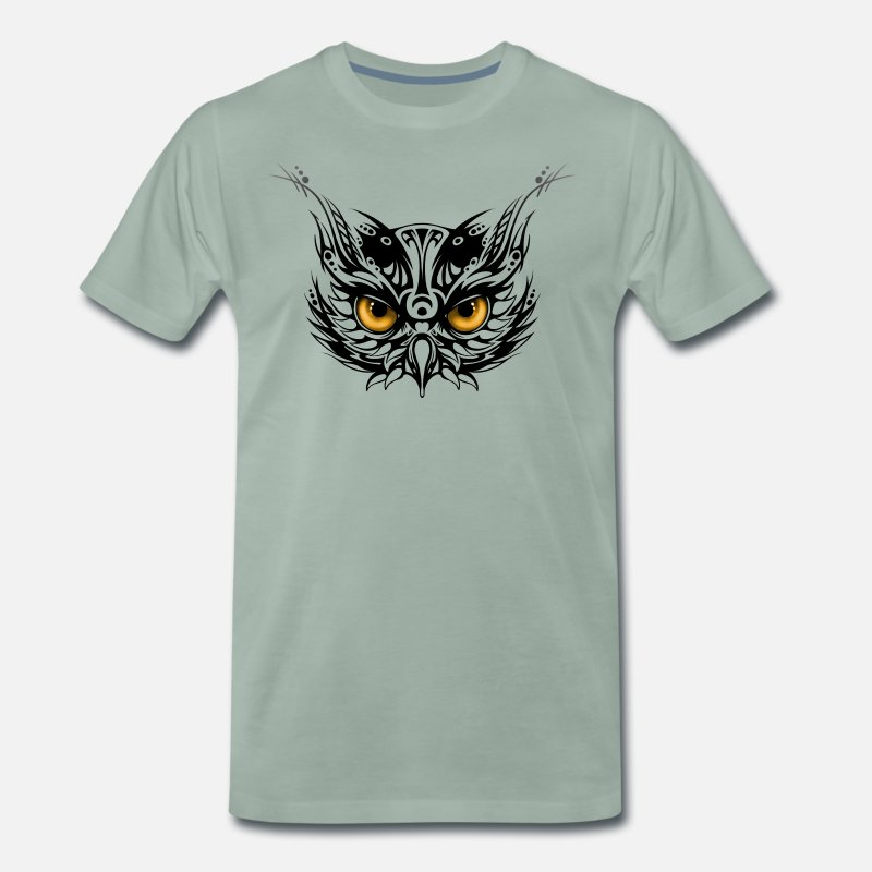 Skull T-Shirts - Tribal owl head - Men's Premium T-Shirt steel green
