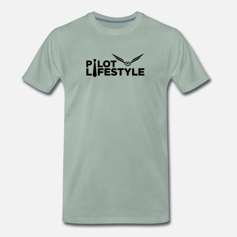 Aviation T-Shirts - Pilot Lifestyle - Men's Premium T-Shirt steel green