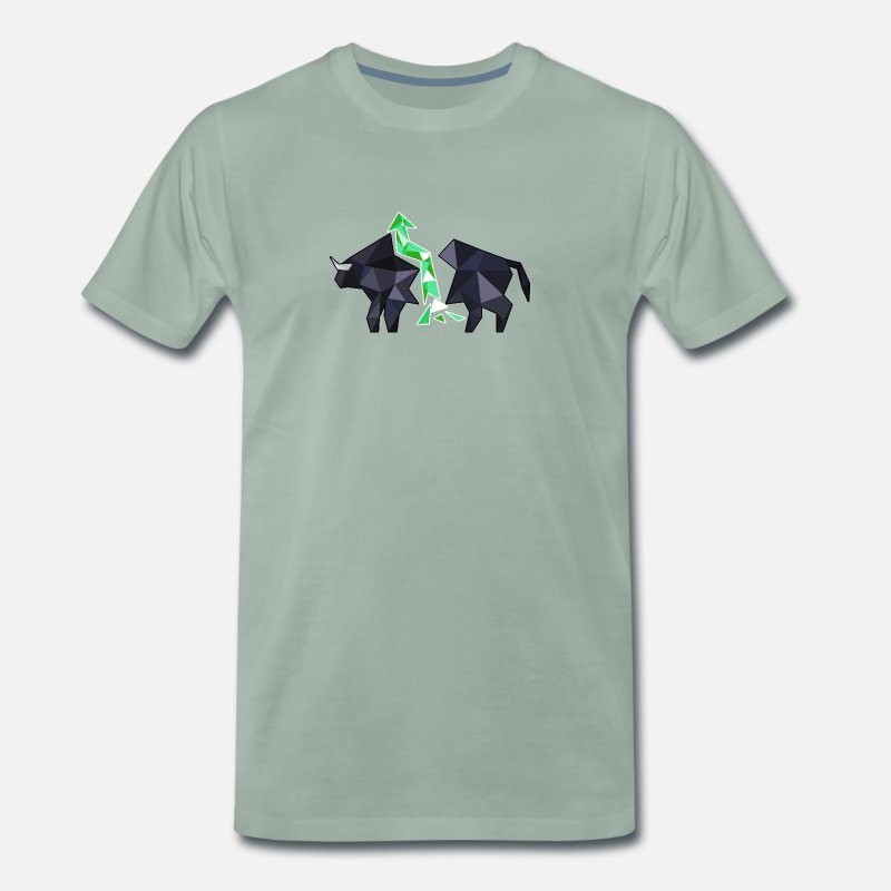 Capitalist T-Shirts - Stock Market Bull - Rising Stocks Capitalist Gift - Men's Premium T-Shirt steel green