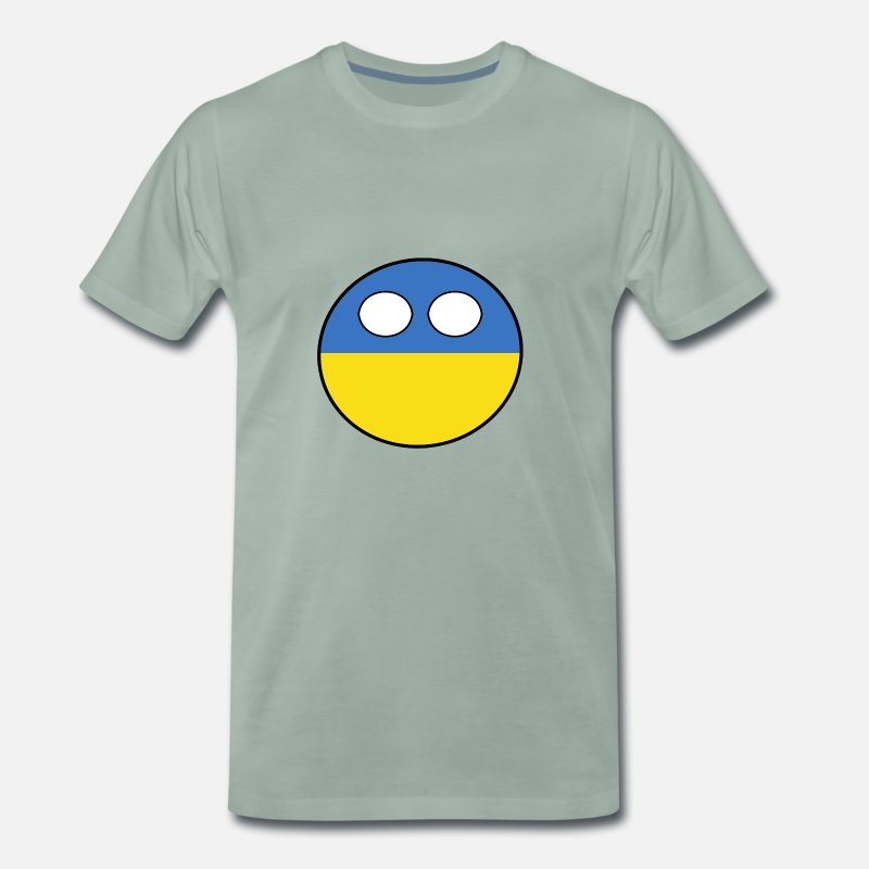 Ball T-Shirts - Countryball Country Home Ukraine - Men's Premium T-Shirt steel green
