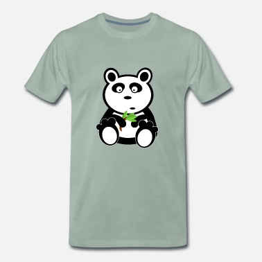 Bamboo Sweet Panda with bamboo - Men's Premium T-Shirt