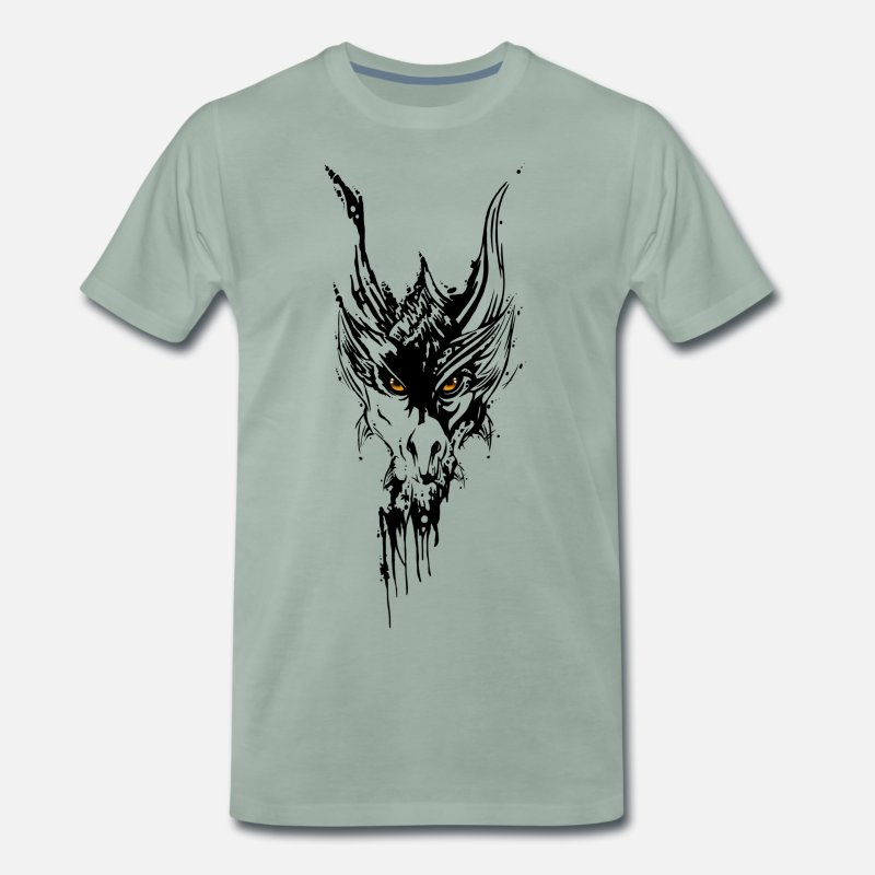 Dragon Head T-Shirts - Dragon Head Tattoo Style - Men's Premium T-Shirt steel green