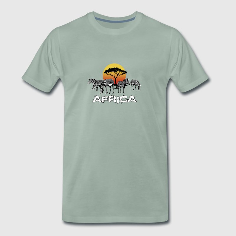 Zebra Africa Sunset Wildlife Safari Kenya - Men's Premium T-Shirt