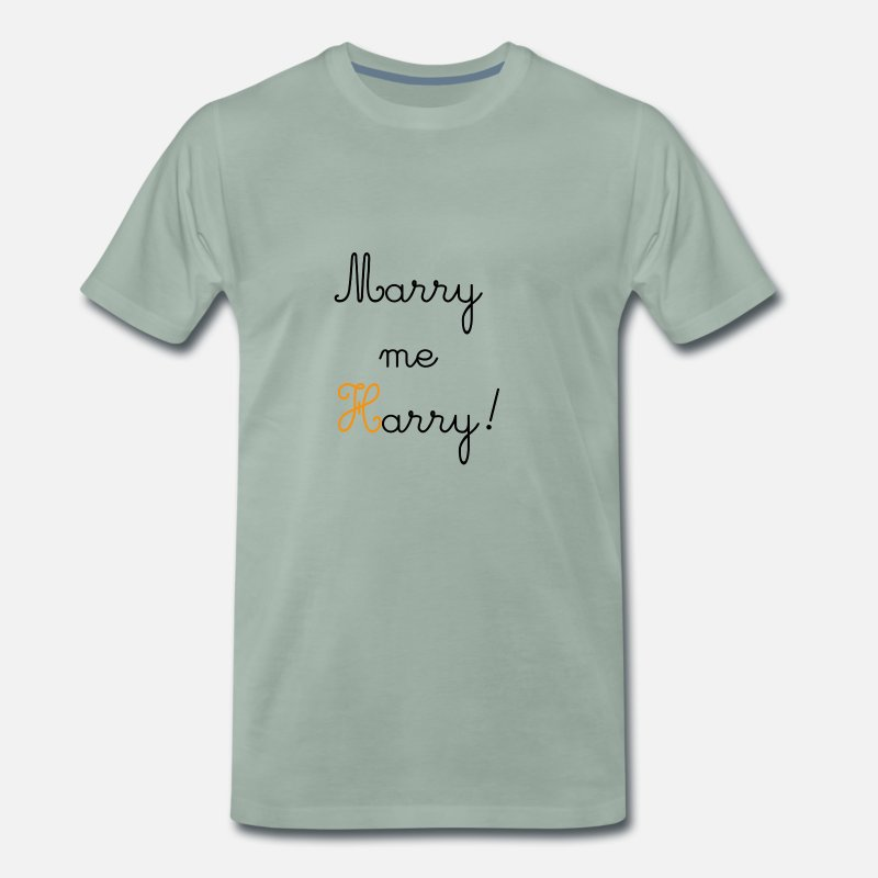 Engagement T-Shirts - Marry me Harry! - Men's Premium T-Shirt steel green