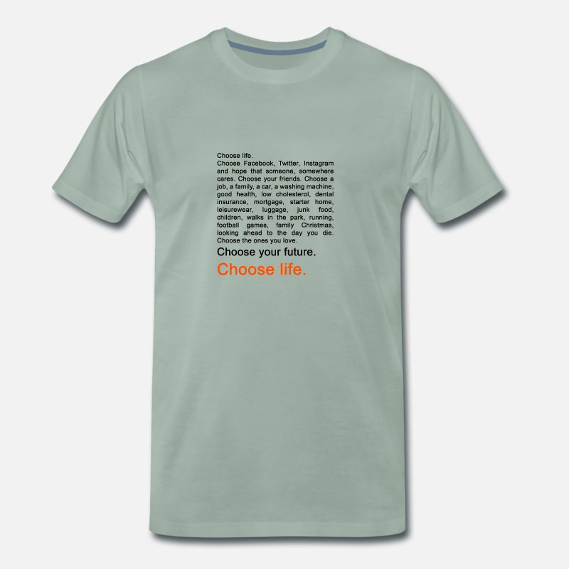 Geek T-Shirts - Trainspotting - Mannen premium T-shirt grijsgroen