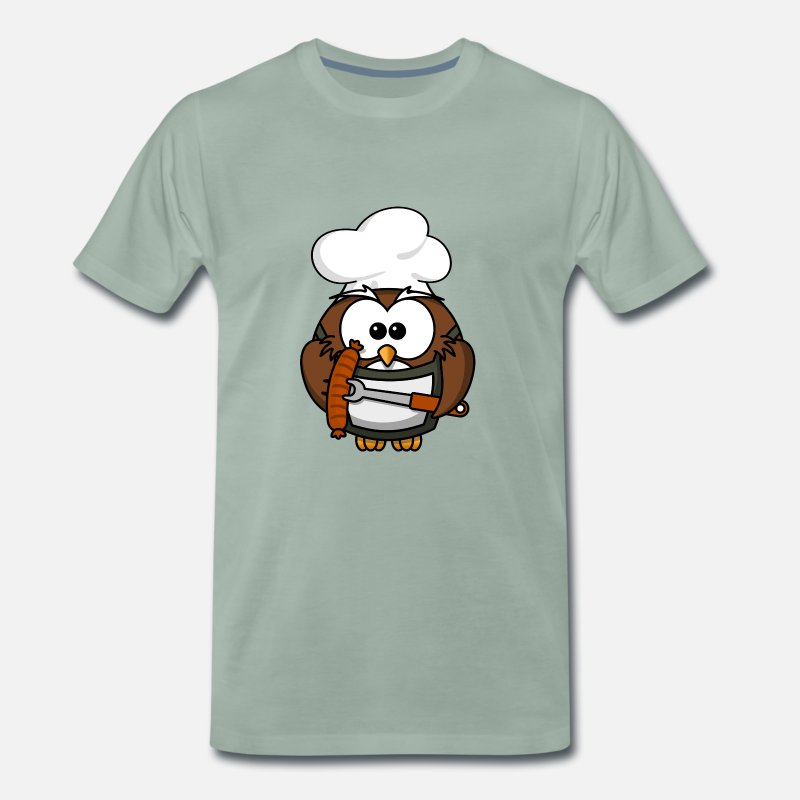 Gift Idea T-Shirts - Owl Grill Cook Sausages - Men's Premium T-Shirt steel green