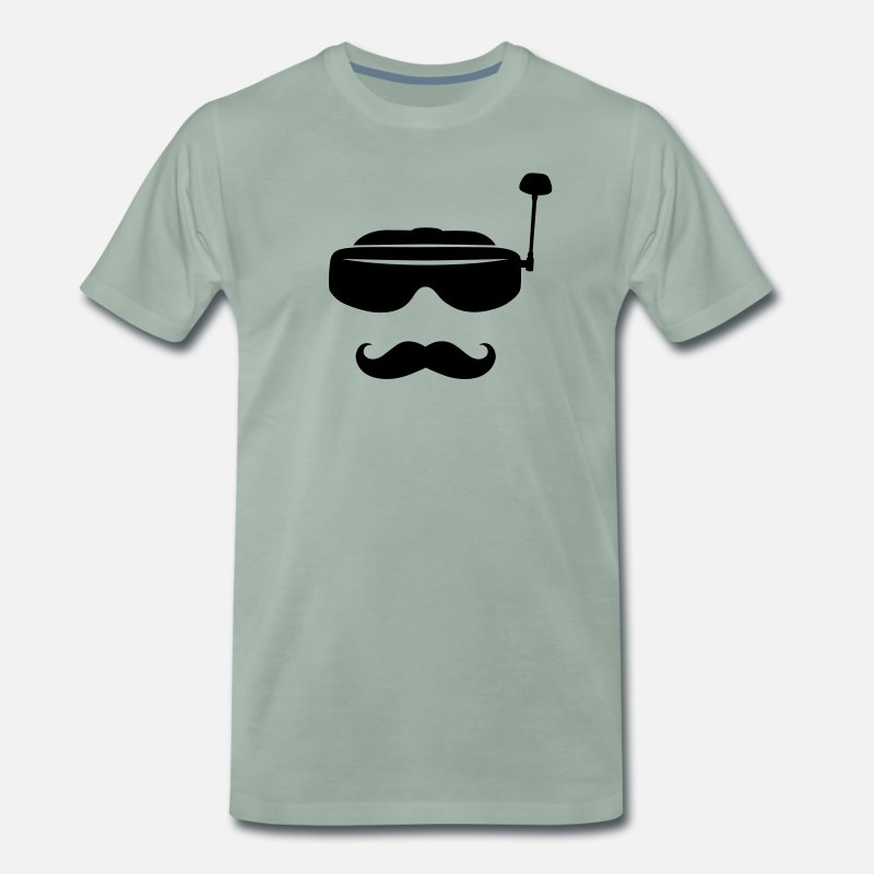 Bestsellers Q4 2018 T-Shirts - FPV glasses and mustache - Men's Premium T-Shirt steel green