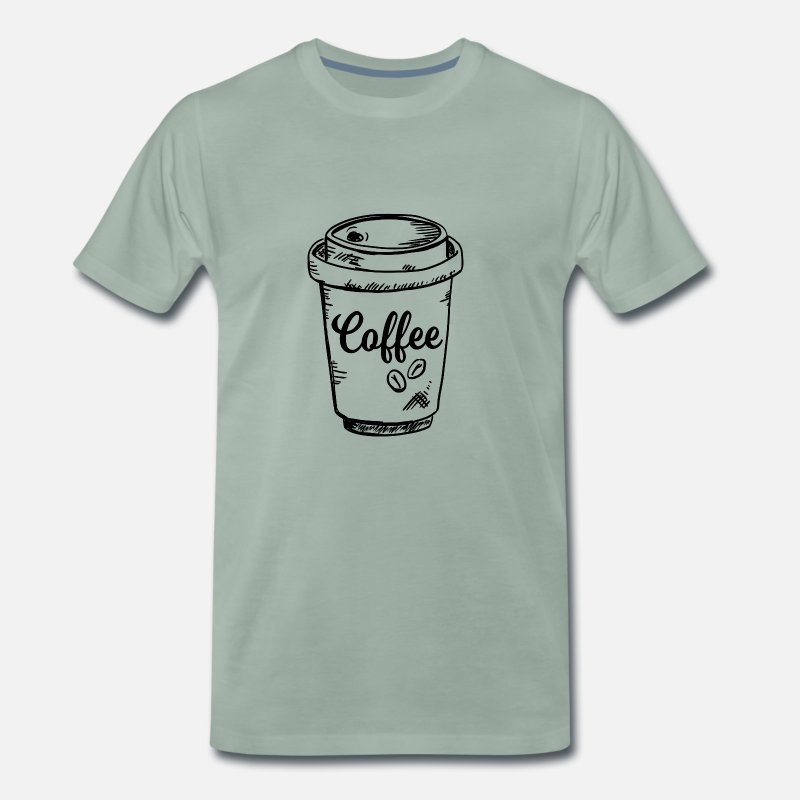 Love T-Shirts - Coffee To Go In Paper Cup - Men's Premium T-Shirt steel green