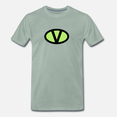 V like vegan symbol comic style, save earth nature - Mannen Premium T-shirt
