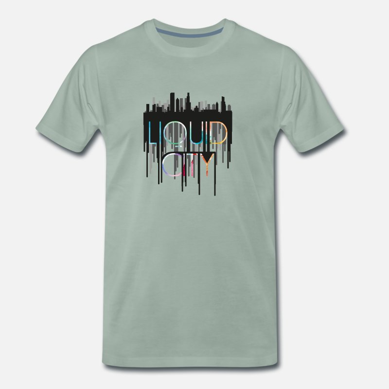Be Lost T-Shirts - Black Liquid City - Men's Premium T-Shirt steel green