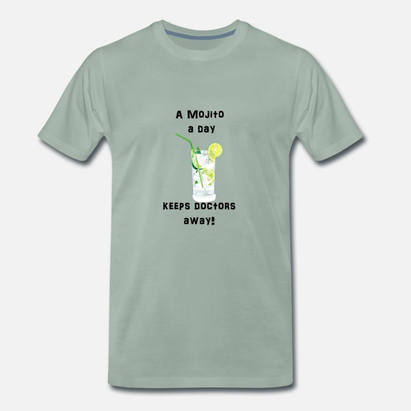 Alcohol T-Shirts - A Mojito a day keeps doctors away - Men's Premium T-Shirt steel green