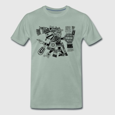 Maya God, Mexico, Warrior, DD - Mannen Premium T-shirt